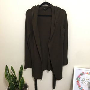 BCBGMAXAZRIA olive hooded open front long cardigan